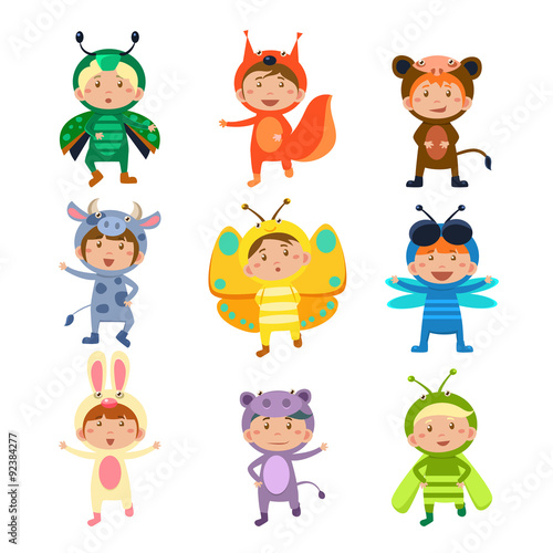 Fotobehang Indiërs Cute Kids Wearing Insect and Animal Costumes
