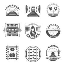 Vector Set Of Railway Emblem. Railroad Labels Or Logos