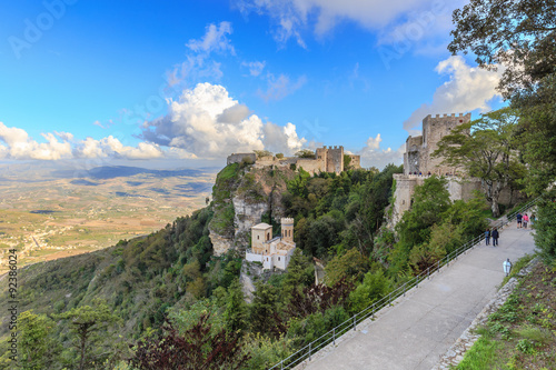 Fotografie, Obraz  Mountain Fortress and Village of Erice on Sicily, Italy