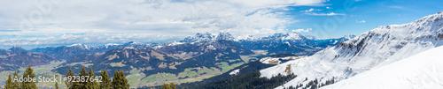 Montage in der Fensternische Gebirge Austrian Alps near Kitzbuehel in winter