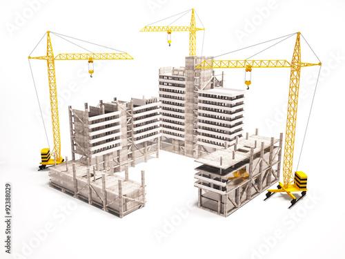 Carta da parati 3d concept of high-rise buildings.
