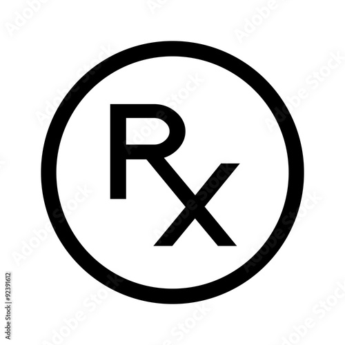 Photo  Simple Rx icon, symbol of prescription