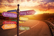 fantastic sunset and Directional Signs