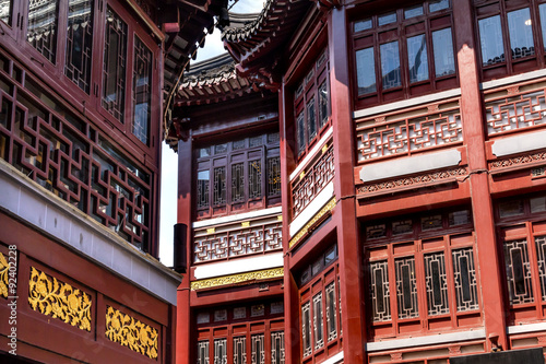 Photo  Old Shanghai Houses Red Roofs Yuyuan China