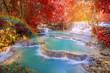 Waterfall in rain forest (Tat Kuang Si Waterfalls at Laos.)