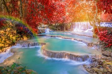 FototapetaWaterfall in rain forest (Tat Kuang Si Waterfalls at Laos.)