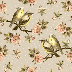 FototapetaRepeated seamless swatch in sepia color. Birds, roses in peas