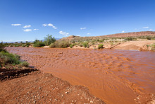 The Dry Wash Is Flooded With Muddy Water After Rain Storm In Southern Utah Desert.