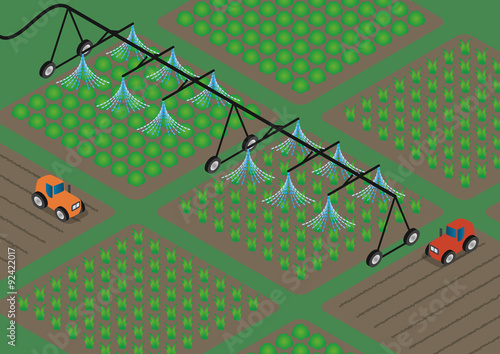 Photo agriculture  and water sprinkler, image illustration