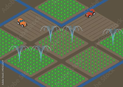agriculture  and water sprinkler, image illustration Canvas Print
