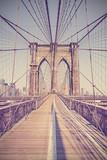Rocznik tonująca fotografia most brooklyński, NYC, usa. - 92431061