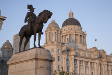 Edward VII Statue And Port Building At Pier Head; Liverpool