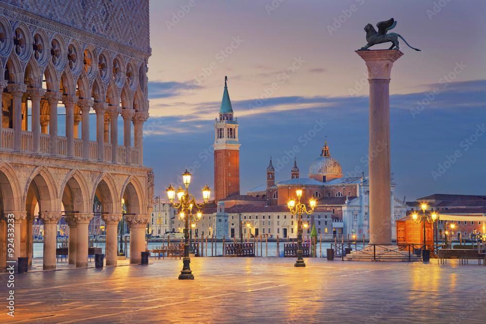 Fototapety, obrazy: Venice. Image of St. Mark's square in Venice during sunrise.