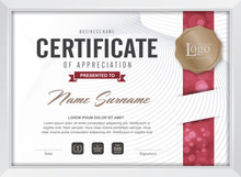 Certificate Template With Clean And Modern Pattern, Luxury Golden,Qualification Certificate Blank Template With Elegant,Vector Illustration