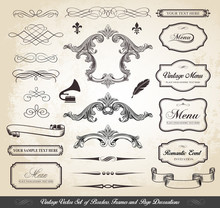 Vintage Vector Set Of Borders Frames And Page Decorations