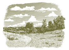 Woodcut-style Illustration Of A Dirt Road Leading Back To An Old Barn.