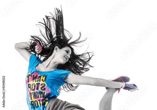 Foto op Canvas Dance School Teenager girl jumping in street dance style