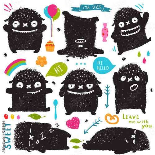 Fotografía  Funny Cute Little Black Monster Holiday Clip Art Collection