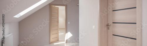 Fotografie, Obraz  Light corridor with wooden doors