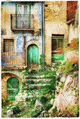 Fototapeta old streets of medieval villages of Italy, artistic picture