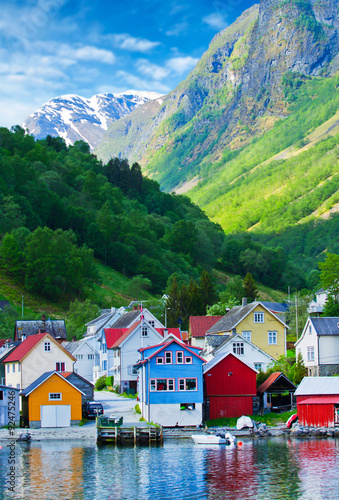 Fotografie, Obraz  Village and Sea view on mountains in Geiranger fjord, Norway