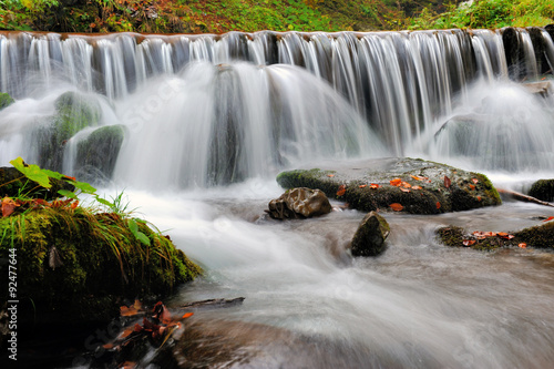 Autumn forest waterfall - 92477644