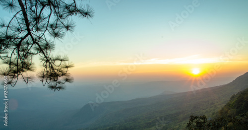 Foto op Canvas Groen blauw sunset on mountain landscape