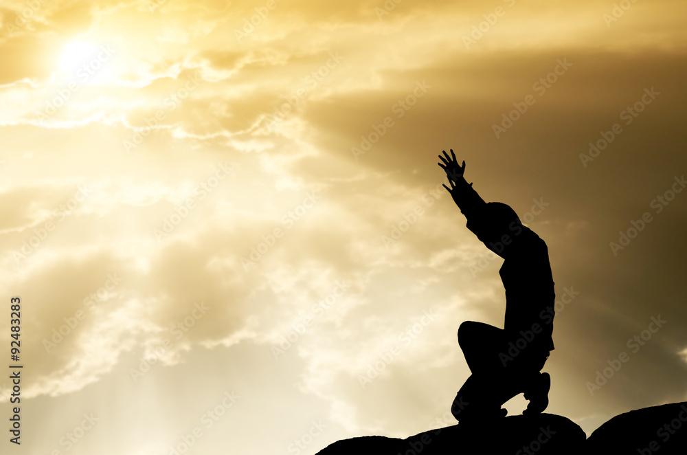 Fototapety, obrazy: praying man on beautiful sky background