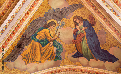 Banska Stiavnica - Annunciation fresco on ceiling of parish church