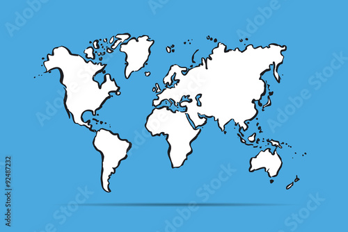 Fotografie, Tablou  Drawing map of The World.