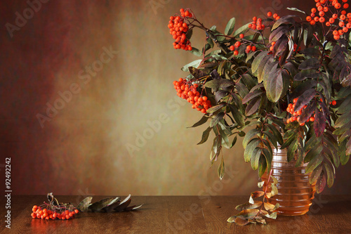 Autumn Still Life With Rowan Tree Branches In The Vase Buy This