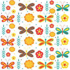 butterfly pattern and seamless suitable for fabric design, gift wrap, tissue paper and etc