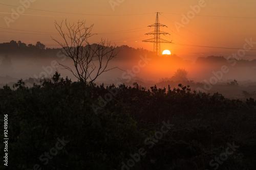 Fotobehang Zwavel geel Sonnenaufgang in der Kendlmühlfilzen
