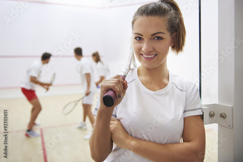 Fotografiet  My hobby is playing squash