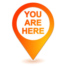 You Are Here On Geolocation Orange Symbol
