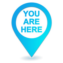 You Are Here On Geolocation Symbol Blue