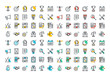 Flat line colorful icons collection of corporate business economics, global market strategy vision, partnership teamwork organization, success business, marketing, planning and analytics.