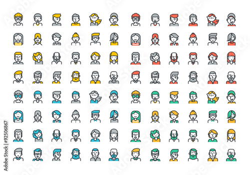 Flat Line Colorful Icons Collection Of People Avatars For Profile Page Social Network