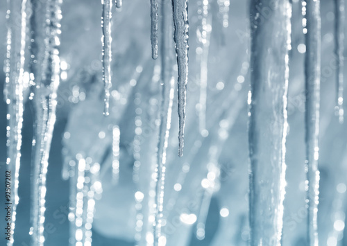 Tablou Canvas Background of bright transparent icicles in the sunlight
