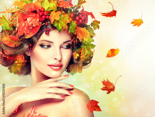 Fototapety, obrazy: Autumn Beauty - woman fashion Makeup With Red and yellow autumn Leaves. Autumn wreath on girl head . Emotions and surprise on the face of the autumn girl
