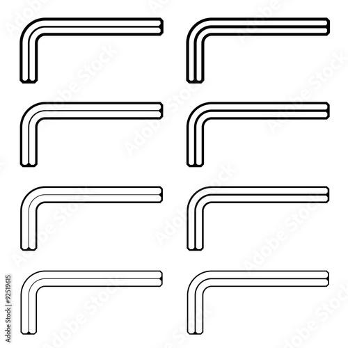 Photo vector allen unbrako inbus key black line symbols