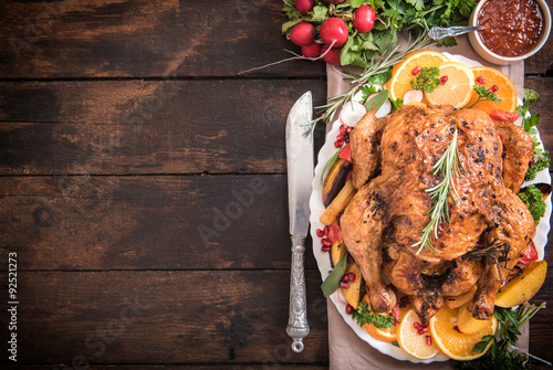 Photo  Served roasted turkey with vegetables
