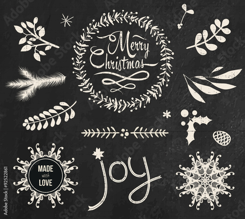 christmas doodle chalkboard graphic set buy this stock vector and