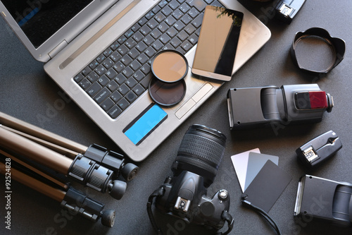 Fototapeta desktop with photography equipment obraz