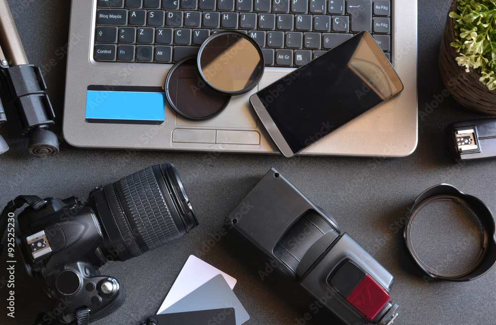 Fototapety, obrazy: desktop with photography equipment