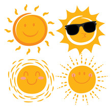 Various Smiling Sun Cartoon