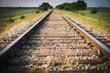 canvas print picture - Railway, Railroad, Train Tracks, Green Pasture, Selective Focus