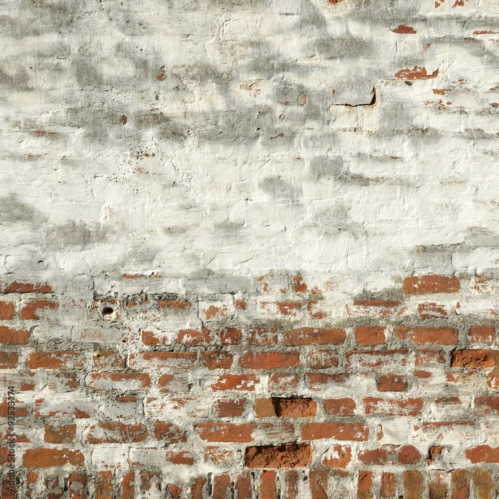 Vintage Red Brick Wall With White  Plaster Frame Background