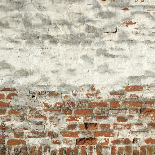 Foto op Canvas Stenen Vintage Red Brick Wall With White Plaster Frame Background