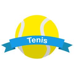 Panel Szklany Tenis Icono plano cinta texto Tenis con pelota color azul